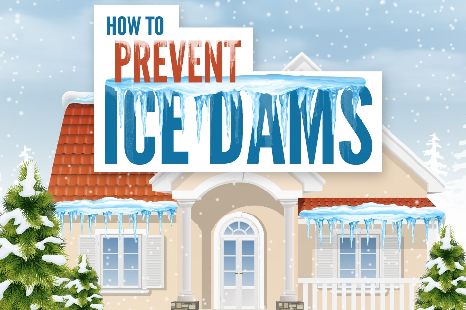 """A cartoon home with the words, """"How to Prevent Ice Dams"""" written on it."""