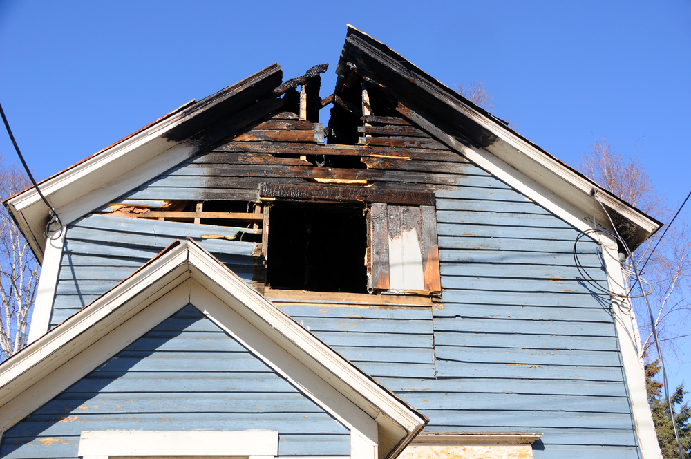 A home with fire damage.