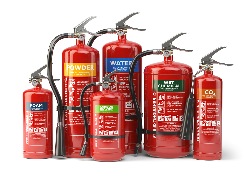 Different types of fire extinguishers.