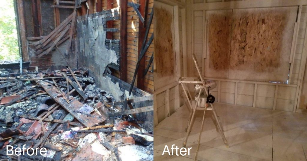 Before and after the cleanup of a devastating fire.