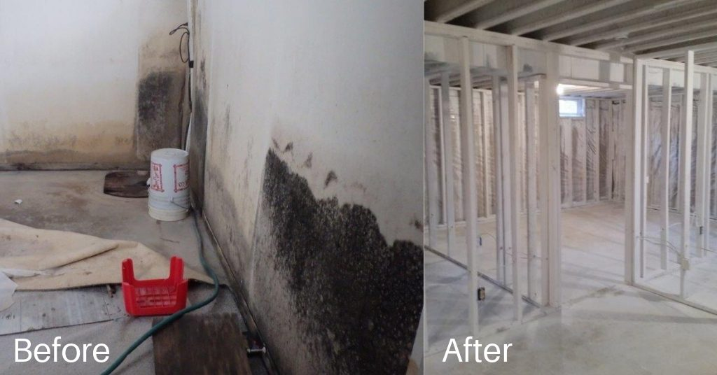 Before and after mold was removed from a home.