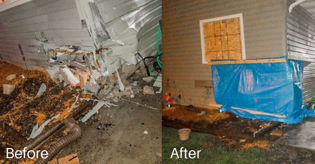 Before and after a board-up Rapid Restoration provided.