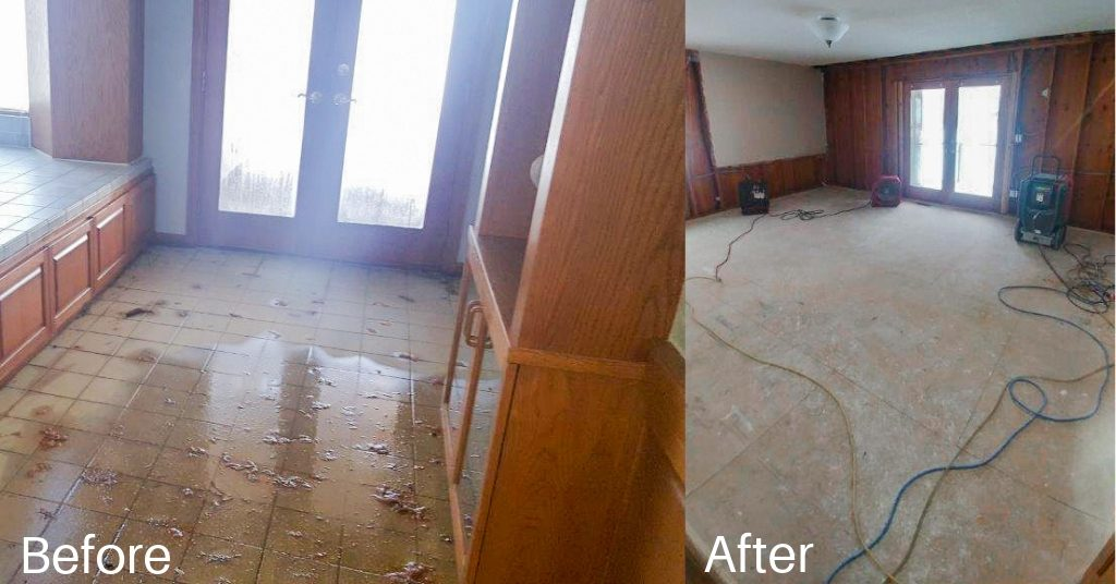 A home with water damage and after Rapid Restoration has helped remove and dry the water.