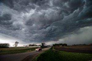 A thunderstorm growing over Minnesota.