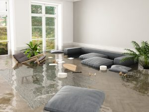 A home full of standing water.