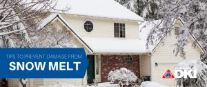 """blog featured image with a house covered in snow and text reading """"tips to prevent damage from snow melt"""""""