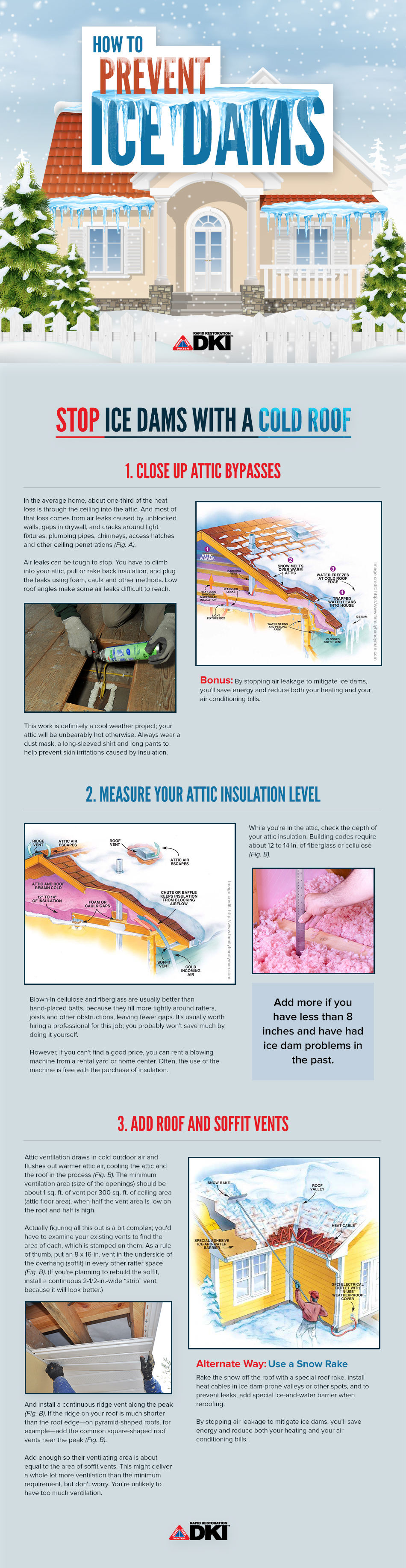 An infographic with information about how to prevent ice dams on your home.