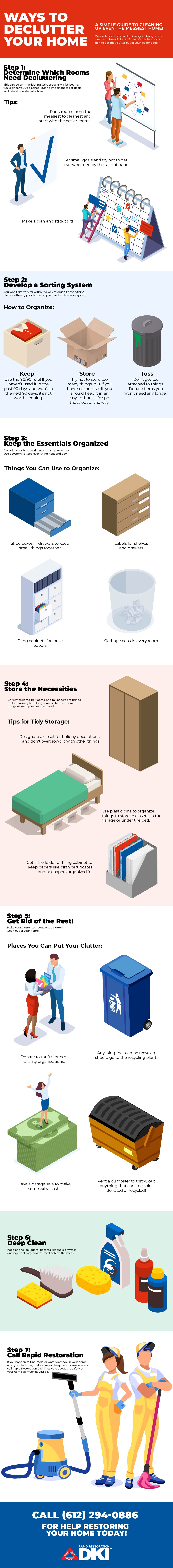infographic about tips to declutter your home