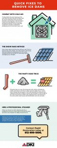 infographic showing how to remove ice dams from your roof