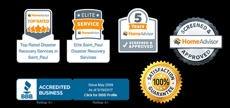 Badges showcasing various industry and quality recognitions received by Rapid Restoration