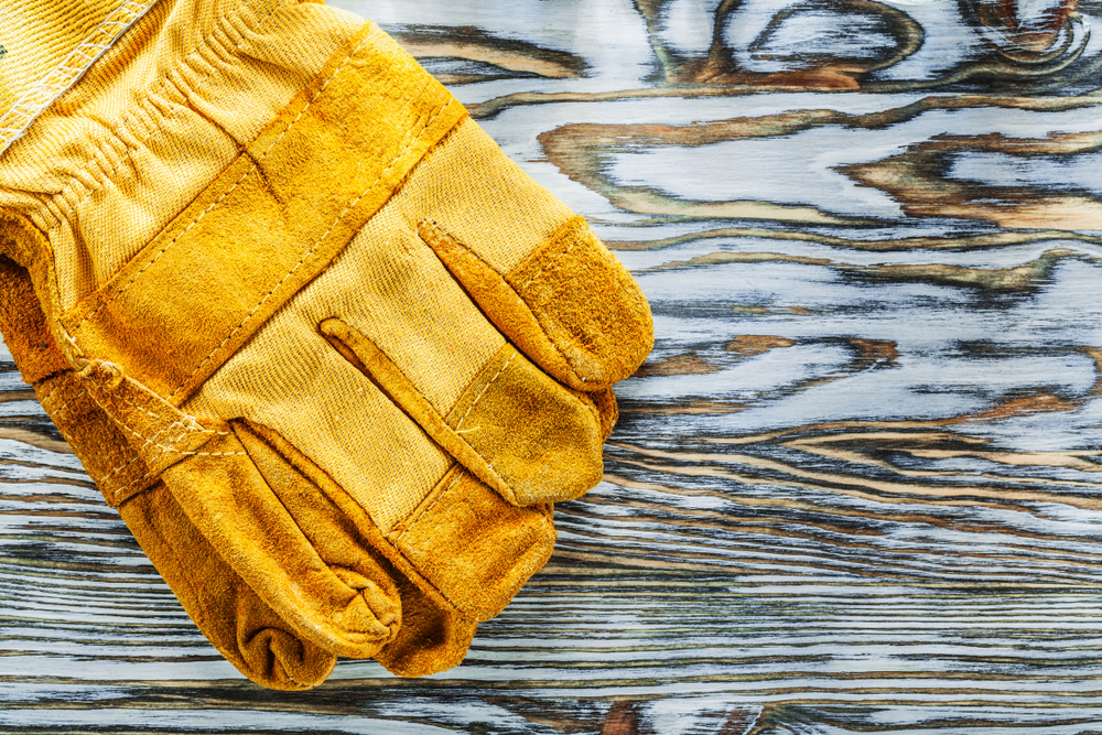 yellow work gloves